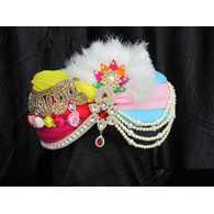 S H A H I T A J Traditional Rajasthani Multi-Colored Silk Bhagwan ki Pagdi Safa or Turban for God's Idol/Kids/Adults (RT309)