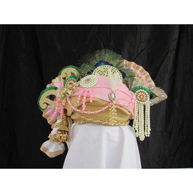 S H A H I T A J Traditional Rajasthani Multi-Colored Cotton Krishna Bhagwan Pagdi or Turban for God's Idol/Kids/Adults (RT275)-ST356_Kids