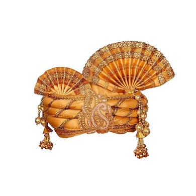 S H A H I T A J Traditional Rajasthani Golden Color Silk Swaminarayan Bhagwan ki Pagdi Safa or Turban for God's Idol/Kids/Adults (RT150)-ST229_Adults