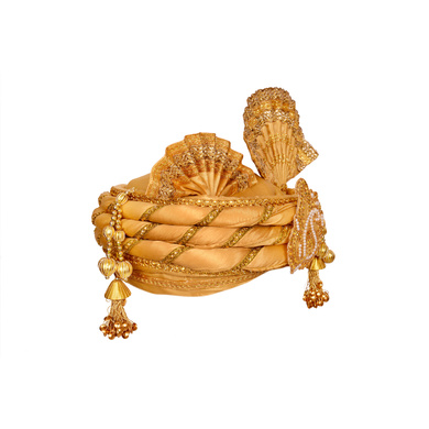 S H A H I T A J Traditional Rajasthani Golden Color Silk Swaminarayan Bhagwan ki Pagdi Safa or Turban for God's Idol/Kids/Adults (RT150)-For Miniature God's Idol (3 inches to 16 inches)-3
