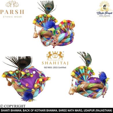 S H A H I T A J Traditional Rajasthani Silk Multi-Colored Krishna Bhagwan Pagdi Safa or Turban for God's Idol/Kids/Adults (RT295)-ST394_Mini