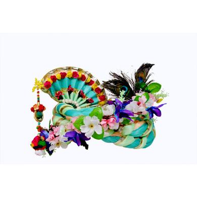 S H A H I T A J Traditional Rajasthani Multi-Colored Krishna Bhagwan Silk Pagdi Safa or Turban for God's Idol/Kids/Adults (RT282)-For Miniature God's Idol (3 inches to 16 inches)-3
