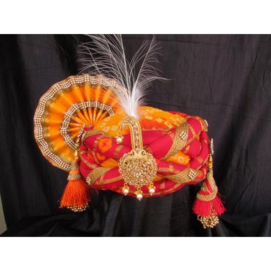 S H A H I T A J Traditional Rajasthani Multi-Colored Silk Bhagwan ki Pagdi Safa or Turban for God's Idol/Kids/Adults (RT315)-ST471_Adults