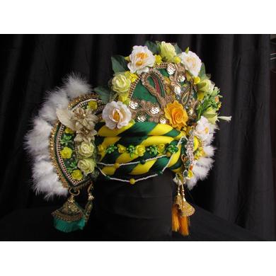 S H A H I T A J Traditional Rajasthani Silk Multi-Colored Krishna Bhagwan Pagdi Safa or Turban for God's Idol/Kids/Adults (RT296)-For Miniature God's Idol (3 inches to 16 inches)-3
