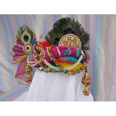S H A H I T A J Traditional Rajasthani Multi-Colored Silk Krishna Bhagwan Pagdi Safa or Turban for God's Idol/Kids/Adults (RT304)-For Miniature God's Idol (3 inches to 16 inches)-3