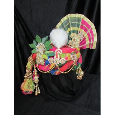S H A H I T A J Traditional Rajasthani Multi-Colored Ganpati Bhagwan Silk Pagdi Safa or Turban for God's Idol/Kids/Adults (RT293)-ST390_Mini