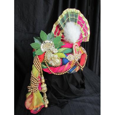 S H A H I T A J Traditional Rajasthani Multi-Colored Ganpati Bhagwan Silk Pagdi Safa or Turban for God's Idol/Kids/Adults (RT293)-For Miniature God's Idol (3 inches to 16 inches)-3