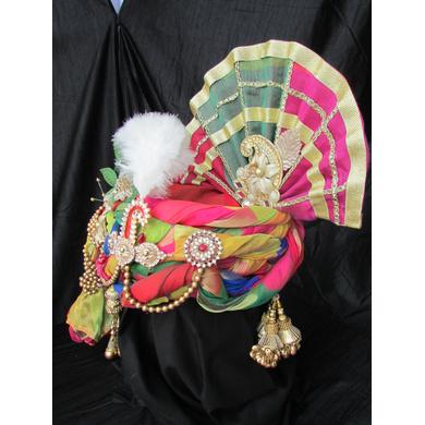 S H A H I T A J Traditional Rajasthani Multi-Colored Ganpati Bhagwan Silk Pagdi Safa or Turban for God's Idol/Kids/Adults (RT293)-For Miniature God's Idol (3 inches to 16 inches)-4