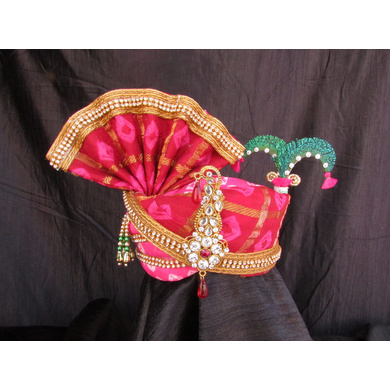 S H A H I T A J Traditional Rajasthani Multi-Colored Silk Bhagwan ki Pagdi Safa or Turban for God's Idol/Kids/Adults (RT316)-ST473_Kids