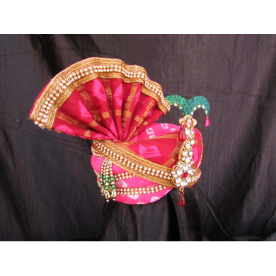 S H A H I T A J Traditional Rajasthani Multi-Colored Silk Bhagwan ki Pagdi Safa or Turban for God's Idol/Kids/Adults (RT316)-For Miniature God's Idol (3 inches to 16 inches)-3