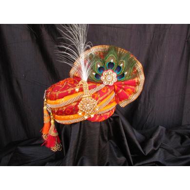 S H A H I T A J Traditional Rajasthani Multi-Colored Silk Krishna Bhagwan Pagdi Safa or Turban for God's Idol/Kids/Adults (RT314)-ST469_Adults