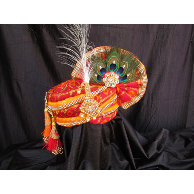 S H A H I T A J Traditional Rajasthani Multi-Colored Silk Krishna Bhagwan Pagdi Safa or Turban for God's Idol/Kids/Adults (RT314)-ST469_Large