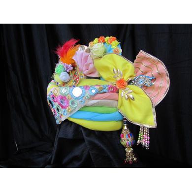 S H A H I T A J Traditional Rajasthani Multi-Colored Silk Krishna Bhagwan Pagdi Safa or Turban for God's Idol/Kids/Adults (RT308)-For Miniature God's Idol (3 inches to 16 inches)-4
