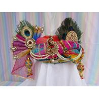 S H A H I T A J Traditional Rajasthani Multi-Colored Silk Krishna Bhagwan Pagdi Safa or Turban for God's Idol/Kids/Adults (RT304)