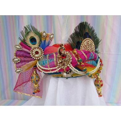 S H A H I T A J Traditional Rajasthani Multi-Colored Silk Krishna Bhagwan Pagdi Safa or Turban for God's Idol/Kids/Adults (RT304)-ST412_Adults