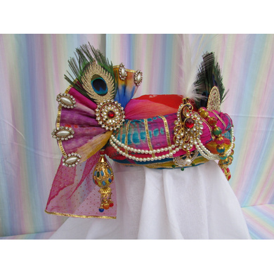 S H A H I T A J Traditional Rajasthani Multi-Colored Silk Krishna Bhagwan Pagdi Safa or Turban for God's Idol/Kids/Adults (RT304)-For Miniature God's Idol (3 inches to 16 inches)-4