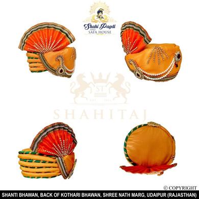 S H A H I T A J Traditional Rajasthani Multi-Colored Ganpati Bhagwan Silk Pagdi Safa or Turban for God's Idol/Kids/Adults (RT292)-For Miniature God's Idol (3 inches to 16 inches)-3