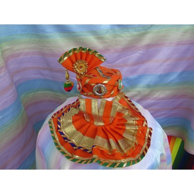 S H A H I T A J Traditional Rajasthani Silk Orange or Kesariya Laddu Gopal Bhagwan ki Pagdi Safa or Turban with Bottom Dress for God's Idol (RT442)-ST578_Mini