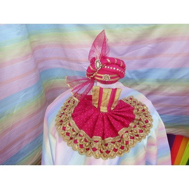 S H A H I T A J Traditional Rajasthani Silk Pink or Rani or Magenta Laddu Gopal Bhagwan ki Pagdi Safa or Turban with Bottom Dress for God's Idol (RT417)-ST577_Mini