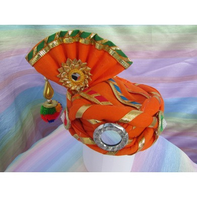S H A H I T A J Traditional Rajasthani Cotton Orange Kesariya Laddu Gopal Bhagwan ki Pagdi Safa or Turban for God's Idol/Kids/Adults (RT443)-ST579_Adults