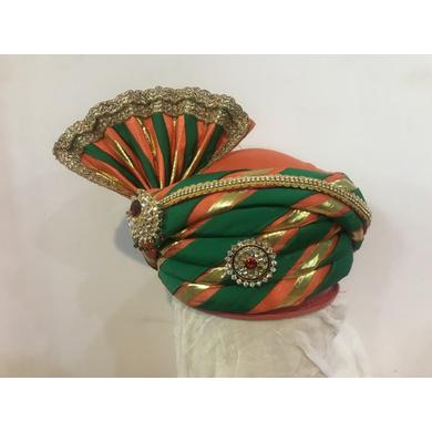 S H A H I T A J Traditional Rajasthani Silk Multi-Colored Bhagwan ki Mewadi Pagdi or Turban for God's Idol/Kids/Adults (MT294)-ST392_Mini