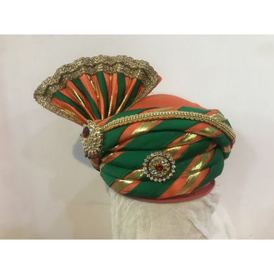 S H A H I T A J Traditional Rajasthani Silk Multi-Colored Bhagwan ki Mewadi Pagdi or Turban for God's Idol/Kids/Adults (MT294)-ST392_Adults