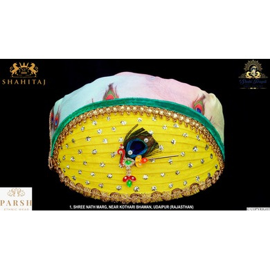S H A H I T A J Traditional Rajasthani Multi-Colored Cotton Mewadi Krishna Bhagwan Pagdi or Turban for God's Idol/Kids/Adults (MT274)-ST354_Mini