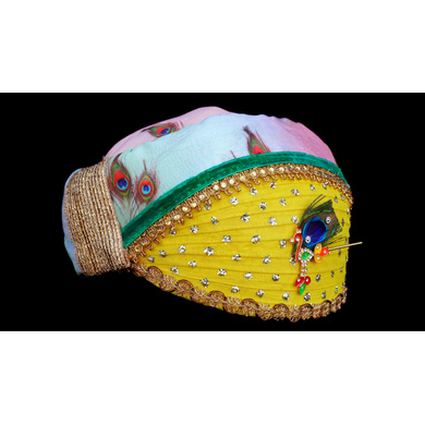S H A H I T A J Traditional Rajasthani Multi-Colored Cotton Mewadi Krishna Bhagwan Pagdi or Turban for God's Idol/Kids/Adults (MT274)-For Miniature God's Idol (3 inches to 16 inches)-3
