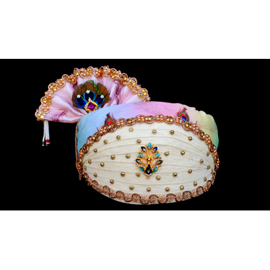 S H A H I T A J Traditional Rajasthani Multi-Colored Cotton Mewadi Krishna Bhagwan Pagdi or Turban for God's Idol/Kids/Adults (MT278)-ST362_Adults