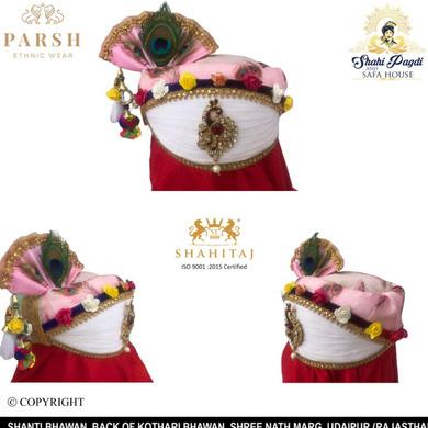 S H A H I T A J Traditional Rajasthani Multi-Colored Krishna Bhagwan Cotton Mewadi Pagdi or Turban for God's Idol/Kids/Adults (MT283)-ST372_Large