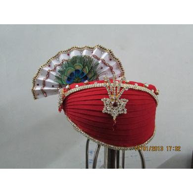 S H A H I T A J Traditional Rajasthani Multi-Colored Krishna Bhagwan Cotton Mewadi Pagdi or Turban for God's Idol/Kids/Adults (MT284)-ST374_Mini