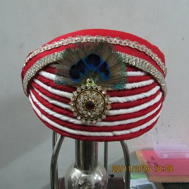 S H A H I T A J Traditional Rajasthani Multi-Colored Krishna Bhagwan Cotton Mewadi Pagdi or Turban for God's Idol/Kids/Adults (MT285)-ST376_Adults