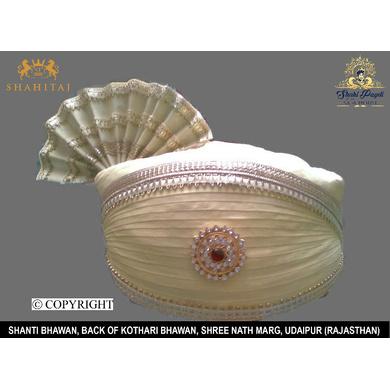 S H A H I T A J Traditional Rajasthani Cotton Off-White Mewadi Bhagwan ki Pagdi Safa or Turban for God's Idol/Kids/Adults (MT134)-ST212_Large