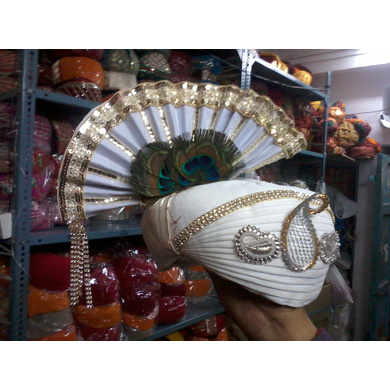 S H A H I T A J Traditional Rajasthani White Cotton Krishna Bhagwan Pagdi Safa or Turban for God's Idol/Kids/Adults (MT457)-ST26_Adults