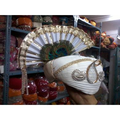S H A H I T A J Traditional Rajasthani White Cotton Krishna Bhagwan Pagdi Safa or Turban for God's Idol/Kids/Adults (MT457)-ST26_Large