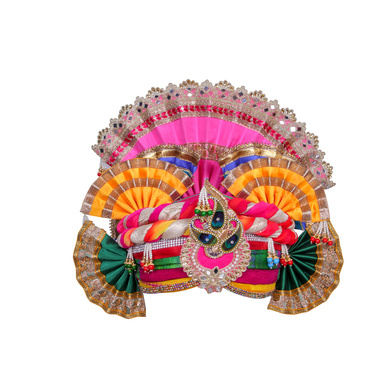 S H A H I T A J Traditional Multi-Colored Silk Krishna or Jagannath Bhagwan Pagdi Safa or Turban for Adults or God's Idol (RT816)-ST936_Large