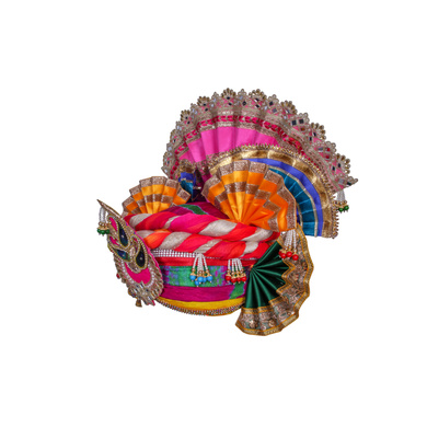 S H A H I T A J Traditional Multi-Colored Silk Krishna or Jagannath Bhagwan Pagdi Safa or Turban for Adults or God's Idol (RT816)-For Teens or Adults (21.5 inches to 23.5 inches)-4