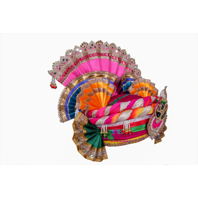 S H A H I T A J Traditional Multi-Colored Silk Krishna or Jagannath Bhagwan Pagdi Safa or Turban for Adults or God's Idol (RT816)-For Teens or Adults (21.5 inches to 23.5 inches)-3