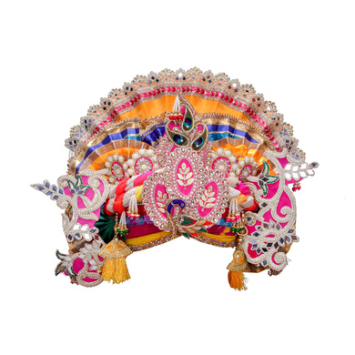 S H A H I T A J Traditional Multi-Colored Silk Krishna or Jagannath Bhagwan Pagdi Safa or Turban for Adults or God's Idol (RT817)-ST937_Large