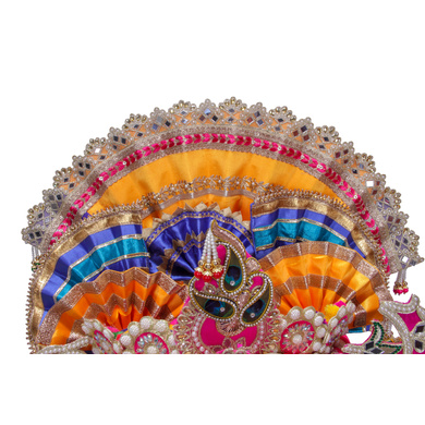 S H A H I T A J Traditional Multi-Colored Silk Krishna or Jagannath Bhagwan Pagdi Safa or Turban for Adults or God's Idol (RT817)-For Teens or Adults (21.5 inches to 23.5 inches)-3