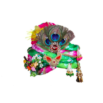 S H A H I T A J Traditional Rajasthani Multi-Colored Silk Krishna or Ganpati Bhagwan Pagdi Safa or Turban for God's Idol/Kids/Adults (RT818)-ST938_Adults