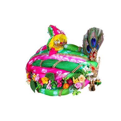 S H A H I T A J Traditional Rajasthani Multi-Colored Silk Krishna or Ganpati Bhagwan Pagdi Safa or Turban for God's Idol/Kids/Adults (RT818)-For Miniature God's Idol (3 inches to 16 inches)-5