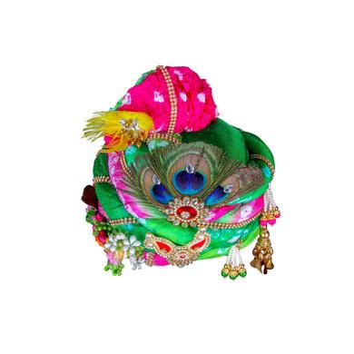 S H A H I T A J Traditional Rajasthani Multi-Colored Silk Krishna or Ganpati Bhagwan Pagdi Safa or Turban for God's Idol/Kids/Adults (RT818)-For Miniature God's Idol (3 inches to 16 inches)-4