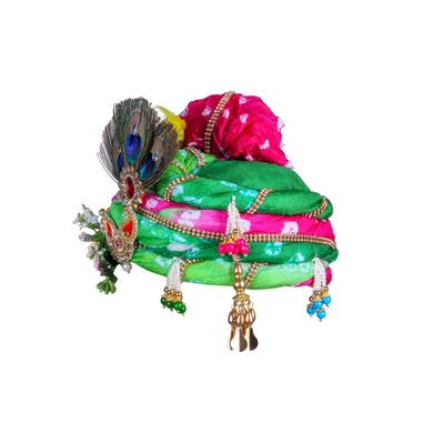 S H A H I T A J Traditional Rajasthani Multi-Colored Silk Krishna or Ganpati Bhagwan Pagdi Safa or Turban for God's Idol/Kids/Adults (RT818)-For Miniature God's Idol (3 inches to 16 inches)-3