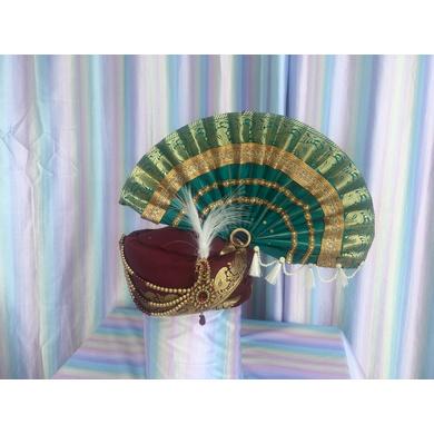 S H A H I T A J Traditional Rajasthani Multi-Colored Silk Ganpati Bhagwan Pagdi Safa or Turban for God's Idol/Kids/Adults (RT819)-ST939_Large