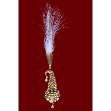 S H A H I T A J Traditional Golden Brooch or Kalangi with Feather for Barati/Groom/Social Occasions Pagdi Safa or Turban (OS820)-ST940