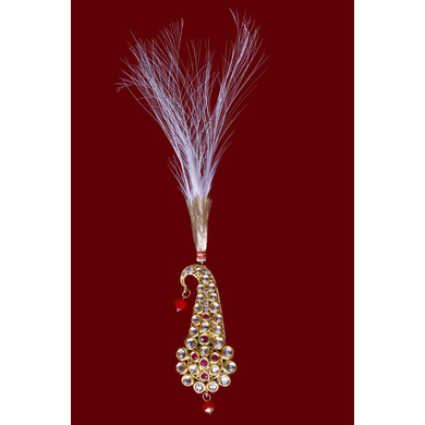S H A H I T A J Traditional Golden with Pink Stone Brooch or Kalangi with Feather for Barati/Groom/Social Occasions Pagdi Safa or Turban (OS821)-ST941