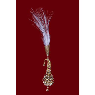 S H A H I T A J Traditional Golden with Pink Stone Brooch or Kalangi with Feather for Barati/Groom/Social Occasions Pagdi Safa or Turban (OS822)-ST942
