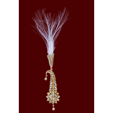 S H A H I T A J Traditional Golden Brooch or Kalangi with Feather for Barati/Groom/Social Occasions Pagdi Safa or Turban (OS823)-ST943