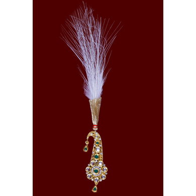 S H A H I T A J Traditional Golden with Green Stone Brooch or Kalangi with Feather for Barati/Groom/Social Occasions Pagdi Safa or Turban (OS824)-ST944